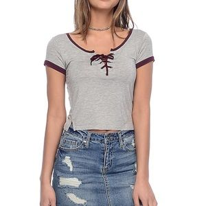 New! Empyre | Hawn Lace Up Grey & Burgundy Top